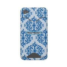 Blue White Damask Iphone 4 Id Covers by Jamlanddesigns