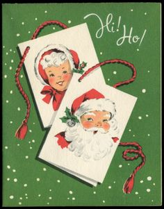 Vintage Christmas Greeting Card Young Santa Mrs Claus c1950s Unused | eBay