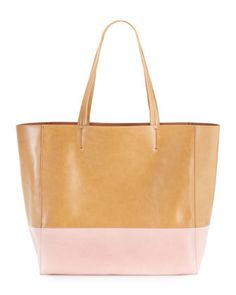 Neiman Marcus Colorblock East-West Tote in Pink/Luggage