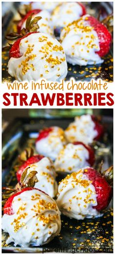 These chocolate covered wine infused strawberries are delicious! Easy Desserts, Delicious Desserts, Yummy Food, Valentine Desserts, Valentines, Homemade Chocolate, Chocolate Recipes, Chocolate Apples, White Chocolate