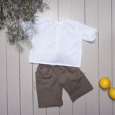 Ensemble Blouse blanche et pantalon bébé coton par ZABOfaitsonnid