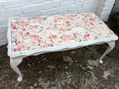 Upcycled Victorian Rectangular Coffee Table w Rose Decoupage and Shabby Chic Finish on Etsy, Decoupage Coffee Table, Coffee Table Redo, Decoupage Furniture, Upcycled Furniture, Shabby Chic Furniture, Painted Furniture, Diy Furniture, Decoupage Ideas, Shabby Chic Upcycling
