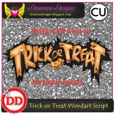 Trick or treat wordart