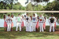 Superhero wedding party!  #rustic #wedding #photography #superheroes #avengers