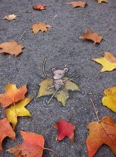 Cette oeuvre est fait sur l'asphalte et elle représente une souris sur une feuille d'automne qui ramerait comme si l'asphalte était de l'eau. J'ai ressenti de la joie en voyant cette oeuvre parce que la souris est mignonne.
