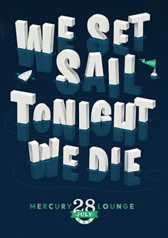 We Set Sail - Iceberg - Velcro Suit - The Graphic Design and Illustration of Adam Hill, logotipo, illustração, Type Posters, Graphic Design Posters, Graphic Design Illustration, Graphic Design Inspiration, Retro Posters, Typo Design, Flyer Design, Design Art, Cool Typography