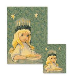 Sankta Lucia,Denmark - Luciabrud                               Illustrator Christel Marott (1919-1992)