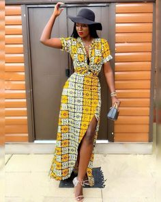 is totally giving us the FRIYAAY feeling in Ankara and Style Inspiration. is totally giving us the FRIYAAY feeling in Ankara and Hat Thats a whole new mood . African Print Clothing, African Print Dresses, African Dress, African Style, African Prints, African Wear, African Fabric, African Inspired Fashion, Latest African Fashion Dresses