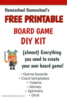 Free Printable Board Game DIY kit for making your own board games! Homeschool Blogs, Homeschool High School, Homeschooling Resources, Homeschool Kindergarten, Family Game Night, Family Games, Puzzles For Kids, Games For Kids, Printable Board Games