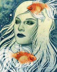 Undulate  by Kelly McKernan Watercolor Portraits, Watercolor Art, Powerful  Art, Art 909538afb8a
