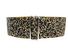 Black and Gold Martingale Collar, Wide Dog Collar, Swirl Martingale Collar, Christmas Martingale, Black and Gold Dog Collar Swirl Dog Collar