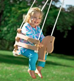 Wooden Horse Swing - gorgeous in a tree or on your patio eave