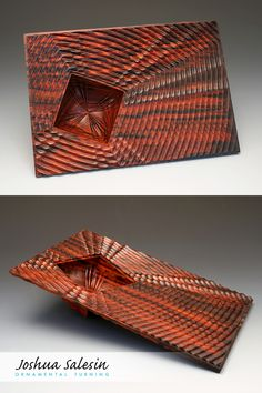 Geometric waves eminate across a planar surface from a central recess. The reverse side features an entirely different pattern of reflective ripples that interact with the natural wood grain. Wood Turning Projects, Wood Projects, Turned Wood, Wooden Bowls, Wood Texture, Wood Sculpture, Different Patterns, Wood Art, Wood Grain