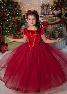 Red Holiday Ball Gown Princess Party Dress by EllaDynae on Etsy