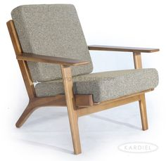 Hans J Wegner Style Plank Armchair, Oatmeal Twill/Dark Wood |