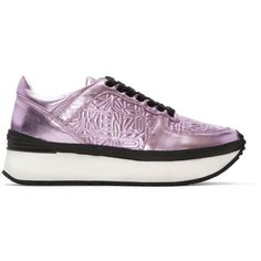 Kenzo Pink Metallic Platform Sneakers ($205) ❤ liked on Polyvore featuring shoes, sneakers, pink, platform shoes, low profile sneakers, leather shoes, lace up sneakers and pink platform shoes