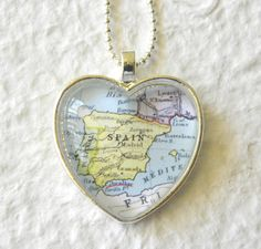World Traveler Heart Shaped Map Necklace - Spain featuring Barcelona, Seville, Madrid, Granada, and Zaragoza. $20.00, via Etsy.