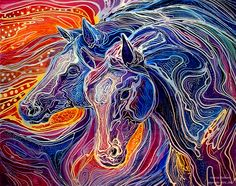Line Drawing Yarn : Colorful horse drawing anything & art pinterest