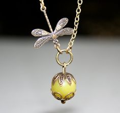 Lemon Jade and Dragonfly Necklace