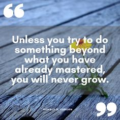 """""""Unless you try to do something beyond what you have already mastered, you will never grow."""" Ronald E. Osborn"""