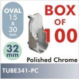 100 Oval 32mm Pin Rod Flange, Polished Chrome $60.00