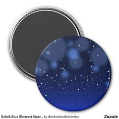 Bokeh Blue Abstract Starry Sky 3 Inch Round Magnet