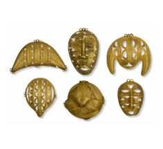 Africa | Six Akan pendants from Ghana and the Ivory Coast | Gold.  H:  7.5 - 11.5 cm  | 5'625€ ~ sold (Dec '07)