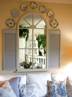 French Country Bedroom Decor Design, Pictures, Remodel, Decor and Ideas - page 43 Old Window Shutters, Arched Window Mirror, Faux Window, Blue Shutters, Wood Shutters, Shutters Inside, Mantle Mirror, Repurposed Shutters, Room Window