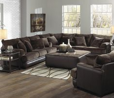 Sleek in style and plentiful in padding, the Barkley Sectional Living Room Set by Jackson Furniture is sure to please. The living room pieces carry an attractive combination of the super soft l Sectional Living Room Sets, Brown Couch Living Room, Living Room Paint, My Living Room, Living Room Interior, Living Room Furniture, Small Living, Large Sectional, Fabric Sectional