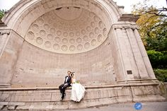 bride and groom in the bandshell by the Mall in Central Park, #NYC
