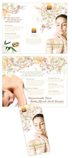 Health & Beauty Spa Tri Fold Brochure Template  Health & Beauty Spa Tri Fold Brochure Template will be a great choice for presentations on natural day spa & massage.    SKU : TF090075LT  Page Size : 8.5in x 11in  Fold Type : Tri Fold  Purchase Includes : Artwork, Hi-resolution (CMYK) images & Fonts (included in download file)  Software Requirement : Adobe Illustrator CS 3    http://dlayouts.com/14-All-Templates/302-Health-Beauty-Spa/flypage.tpl.html