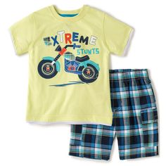 10f71be17dbc2f Toddler Boys Yellow Motorcycle Tee and Board Short Set Outfit Clothing Baby