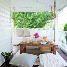 #frontporch with #swingbed by Sarah of @ourvintagefarmhouse
