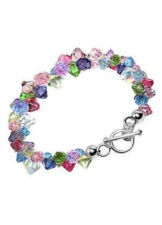 ## Crystal Bracelet Sterling Silver Multicolor Crystal 7.5 inch Bracelet With Toggle Clasp Made with Swarovski Elements by Save-Price