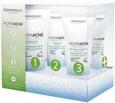 Kuracja 30-dniowa NORMACNE CURATIO zawiera: Antybakteryjny żel do mycia twarzy 75 ml Matujący krem na dzień 30 g Regulująco-oczyszczający krem na noc 30 g Preparat punktowy 15 g