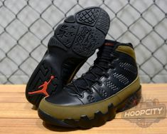 best sneakers f7650 e9bea Young Air Jordan IX Boys Shoe Olive Retro Black Varsity Red Light Olive  302370 020