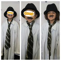 Preschoolers dressed up as men for father's day photo frame