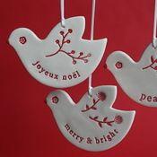 Ceramic christmas ornaments from Paper Boat Press (via Pia Jane Bijkerk)