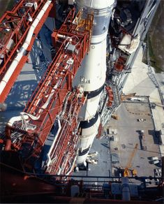 Space Shuttle Apollo 11 Launch Tower - A view of the Apollo 11 Saturn V from the top of the launch at complex July (Source: NASA)
