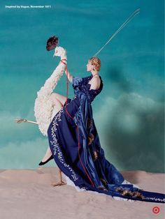 To recreate an illustration from a 1911 issue of Vogue, we had to let our imaginations run wild. Who knew you could use deconstructed pillows, embroidered curtains, a feather duster and sea urchin wall decors to create a stunning gown and larger-than-life white peacock? TargetStyle, in Vogue