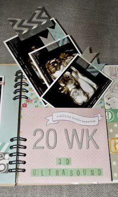 pregnancy scrapbook mini album kraft gold teal blue aqua green pink metallic unisex gender neutral surprise baby grandmother gift baby maternity ultrasound weekly monthly journal