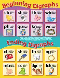 Beginning/Ending Digraphs Chart - Teacher Superstore