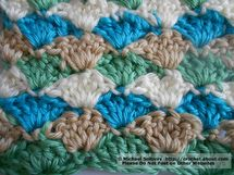 How to Crochet a Shell Stitch: Shell Stitch: Multicolored Sample Worked in Four Different Colors