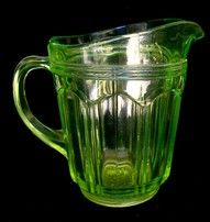 green depression glass knife and fork   pattern pitcher
