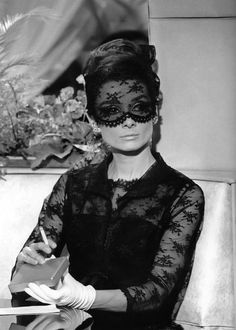 Audrey Hepburn in Givenchy.  How to Steal a Million (1966). icon, fashion, style inspir, audrey hepburn, audreyhepburn, beauti, black, lace mask, lace dresses