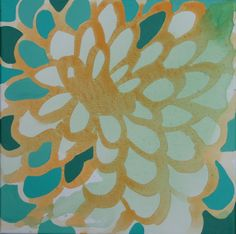 12 x 12 Poured Acrylic Original Painting - 1 Large Flower in Oranges and Turquoises. via Etsy. (by my Furman friend Sara)