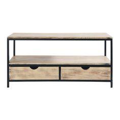 TV-meubel - Long Island, 57 cm hoog, 117 cm breed en 50 cm diep, 139 euro, op voorraad, max gewicht 30 kg, metaal zwart met sparhout (gegroefde look, licht gebleekt), wat ranker