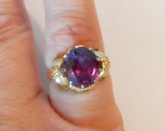 I just listed 10K Gold Alexandrite Ring, Size 7, Lab Created Alexandrite, Mothers Day, Vintage 1990s, June Birthstone, Gift for Her, Fine Jewelry, Art Nouveau on The CraftStar @TheCraftStar #uniquegifts