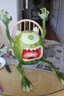 My watermelon carving tutorial of my favourite monster, Mike Wazowski from Monsters Inc., perfect for a monsters party.