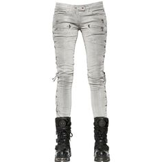 FAITH CONNEXION Lace-Up Coated Cotton Denim Jeans ($1,090) ❤ liked on Polyvore featuring jeans, white, 5 pocket jeans, faith connexion jeans, faith connexion, white jeans and lace up jeans